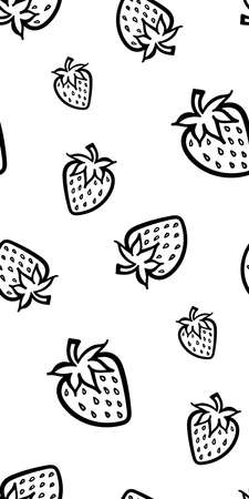 Strawberry berry monochrome black and white sketch seamless pattern texture background vector.