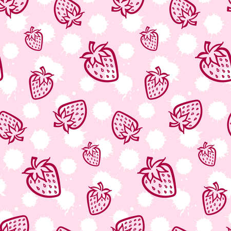 Strawberry berry cream monochrome pink white sketch seamless pattern texture background vector. Illusztráció