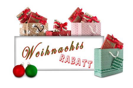 Weihnachts-Shopping und Weihnachtskugeln mit Karte Standard-Bild - 66308636