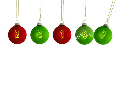 Turn of the year Christmas tree balls with annual figures Stock Photo