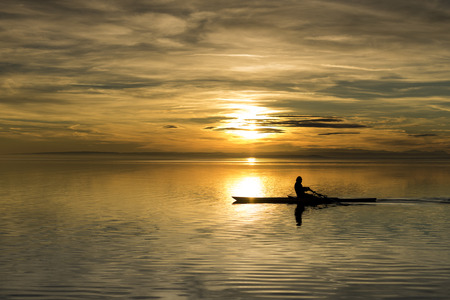 Rower in the sundown