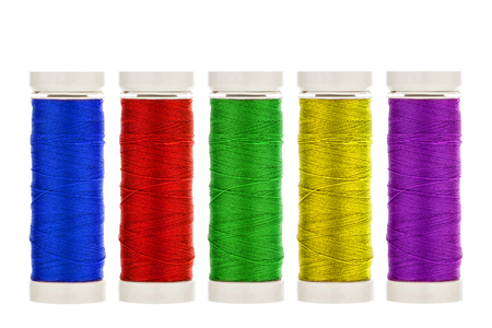 Five coloured linen thread roles
