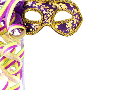 fasching: Violet carnival mask before a white background