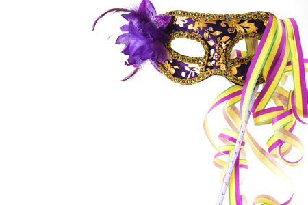 fasching: Carnival mask with coloured streamers