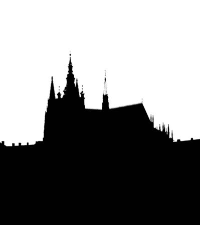 townscape: Silhouette of the Prague castle. Prague, Czech republic, Europe. Stock Photo