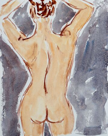aquarelle painting art: Nude figure - watercolor. I created this painting. I am owner of the art original.
