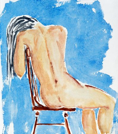 nonexistent: Hand drawing of the nude figure - watercolor, paper. Nonexistent person. I created this painting. I am owner of the art original. Stock Photo