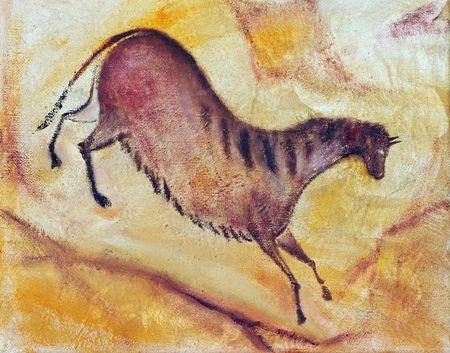 cave painting: Disegno a mano - come la pittura ad olio pittura la grotta di Altamira. Ho creato questo dipinto. Sono il proprietario di opere d'arte originali. Archivio Fotografico