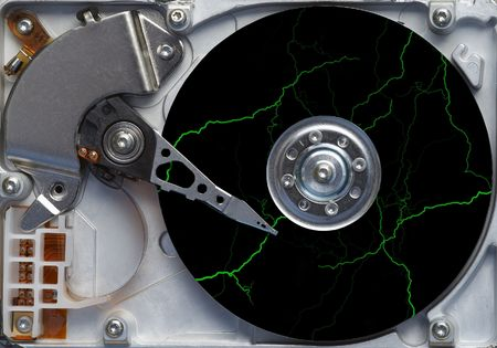Storm on the hard disc - detail of the hard disc