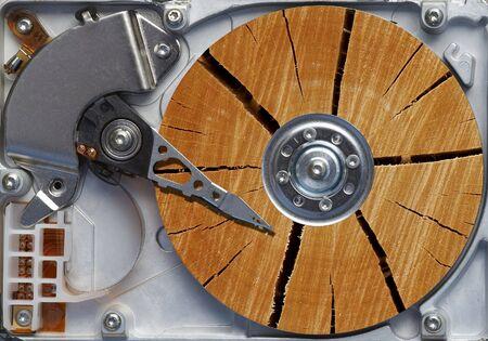 gigabytes: Very old hard disc - humor - image composite
