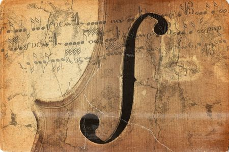 g clef: grunge music background with old fiddle