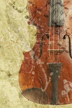 fiddle: grunge music background with old fiddle