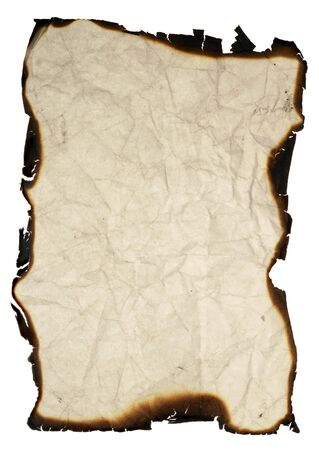 crumpled paper with burned edges - isolated