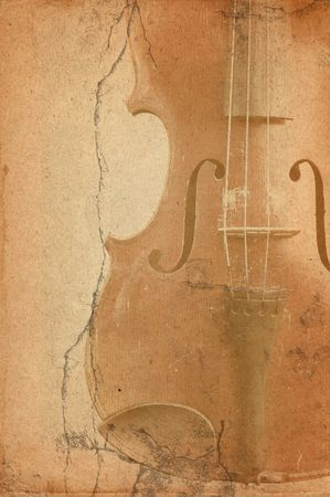 music background with old fiddle in grunge style Stock Photo