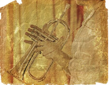 manipulated: jivey trumpeter in grunge style