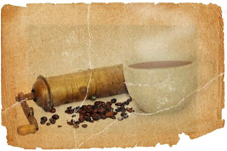Antique coffee grinder with coffee beans  in grunge style photo