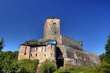 crenelation: Kost Castle - large Gothic castle, Czech republic Stock Photo