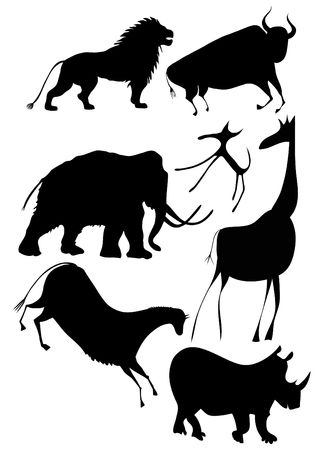 black mammoth: various animals in the style of cave painting