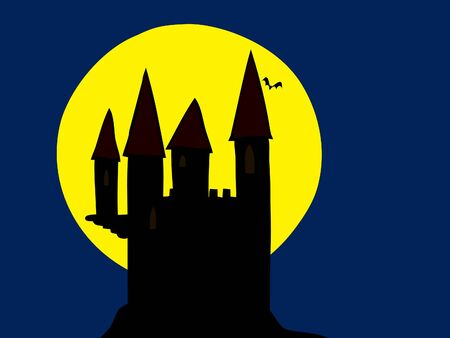 trembling: old haunted castle in the moonlight and flying bat Stock Photo