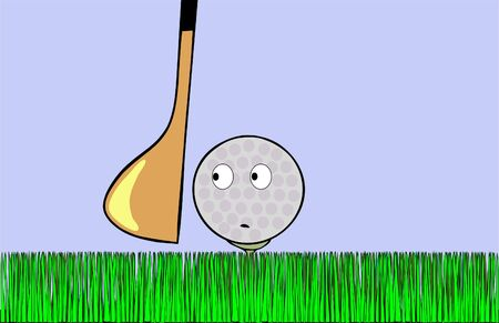 awaiting: Cartoon illustration - frightened golf ball awaiting stroke Stock Photo