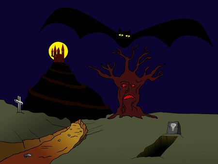 hallooween: old haunted castle on the hill and flying vampire bat
