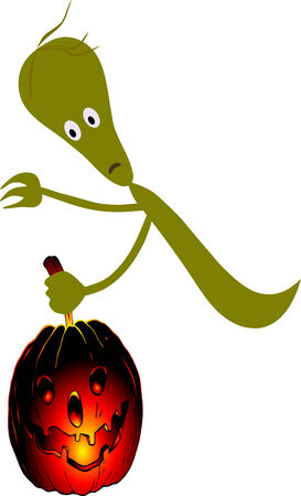 ghostly: ghost with pumpkin  Illustration