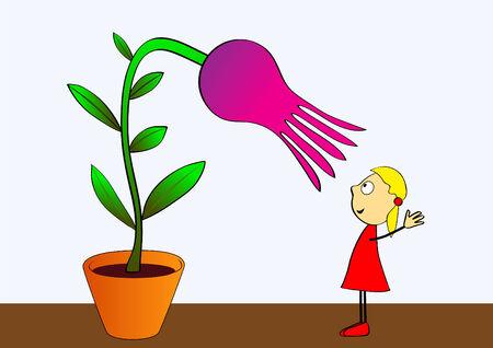 thoughtfulness: adorable little girl cultivating flower Illustration