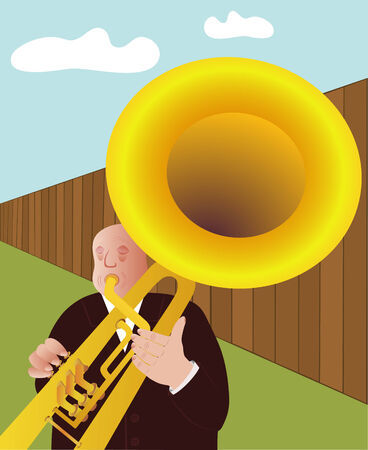 secluded: trumpet player - vector Illustration