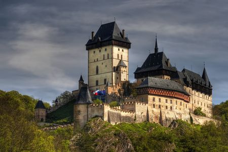 crenellated: Karlstejn - large Gothic castle founded 1348 by Charles IV
