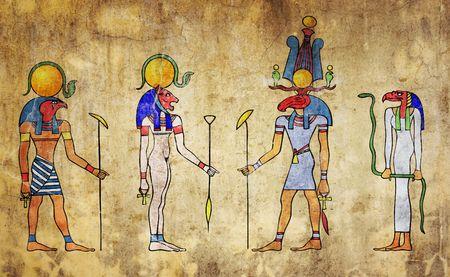egyptian gods - wall painting