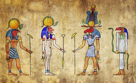egyptian gods - wall painting photo
