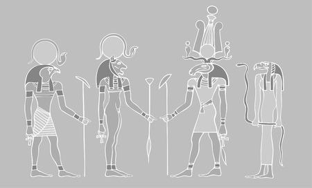Egyptian gods, goddess and symbols Vector