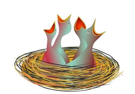 hungrigen kleinen V�gel im Nest - Vektor  Illustration