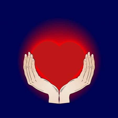 heart in the hands - passionate love - vector