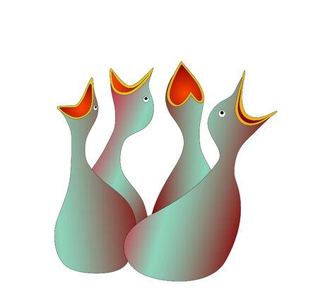 fledgeling: hungry little birds  Illustration