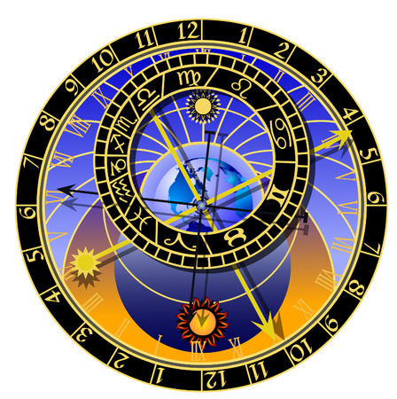 clockwork: astronomical clock with zodiac Illustration
