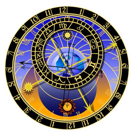 astronomische klok met zodiac Stock Illustratie