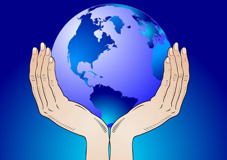 parable: Earth in the your hands - environment  Illustration