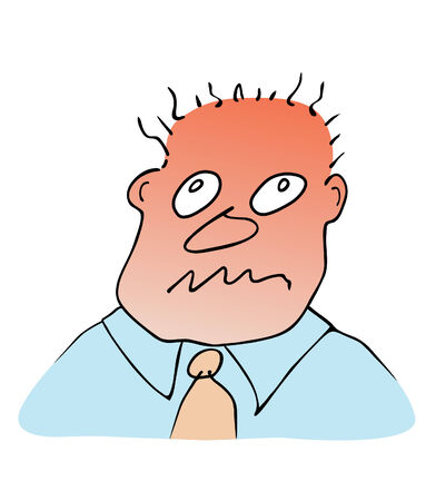 nervousness: face of man - stress reaction  Illustration
