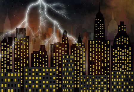 contemporaneous: panorama della citt� moderna - grattacieli - tempesta