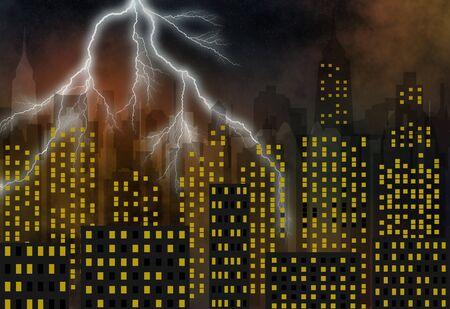 modern town - skyscrapers - streaks of lightnings