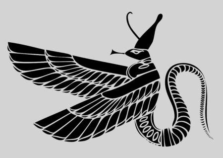 hieroglieven: Egyptische demon  Stock Illustratie
