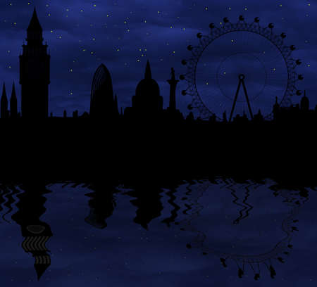 London skyline at night photo