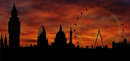 London skyline at dusk 版權商用圖片