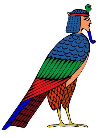 leven en dood: Egyptische demon - Bird of Souls - vector  Stock Illustratie