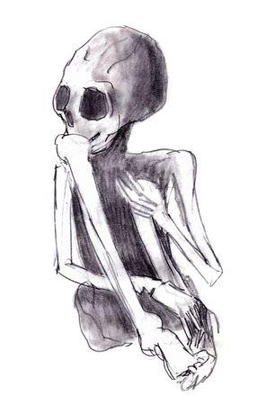 exitus: crouched skeleton