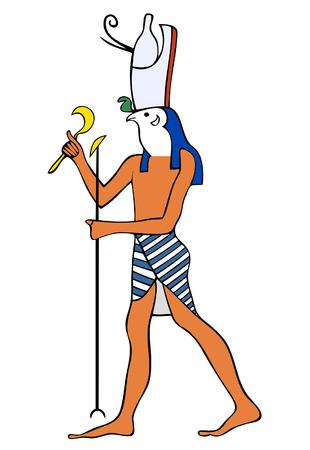 God van het oude Egypte - Horus - Heru - de god met een valkkop - is een van de oudste en belangrijkste goden in de oud-Egyptische religie. Horus vervulde vele functies in het Egyptische pantheon, met name de god van de hemel en de god van Vector Illustratie