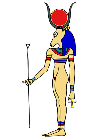God of Ancient Egypt - Hathor - Hethert - among the oldest of Egyptian deities - often depicted as the cow, a cow-goddess, sky-goddess and tree-goddess who was the mother to the pharaoh and earlier to the universe - an Ancient Egyptian goddess who personi Stock Vector - 7234897