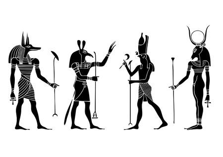 様々 なエジプトの神および女神  イラスト・ベクター素材