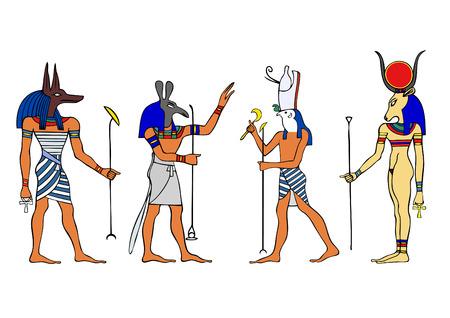 hieroglieven: Egyptische goden en godin  Stock Illustratie